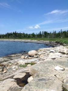 Granite beach at Chair Pond