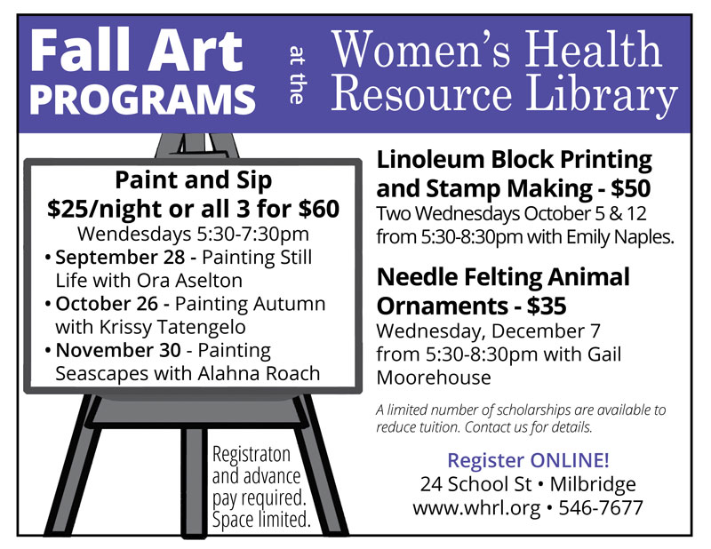 Fall Art Workshops and Paint and Sip Evenings at the Women's Health Resource Library