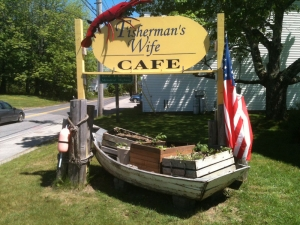 This Fisherman's Wife cafe with tomato plants in raised beds.