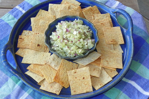 Fresh Cucumber Salsa and Chips