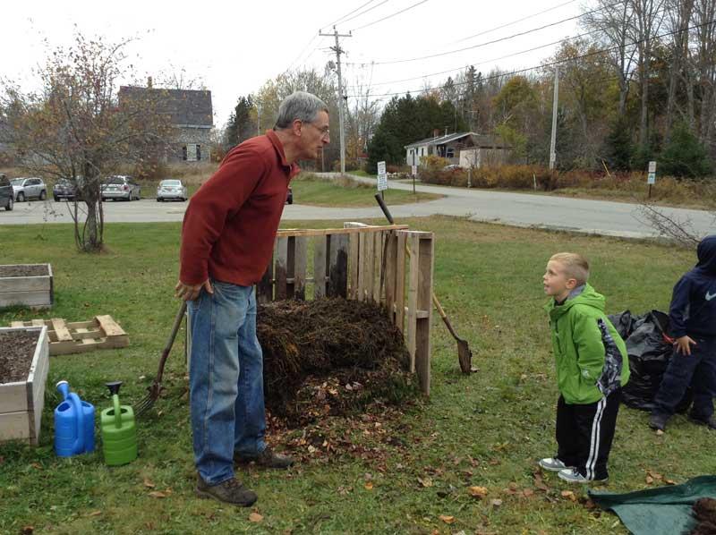 IEM and Second Graders Build Compost at Milbridge Elementary School