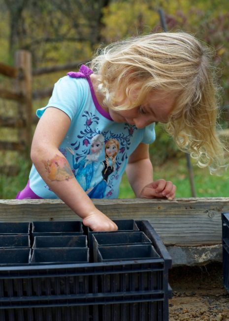 Girl playing with a 4-Pack for seedlings